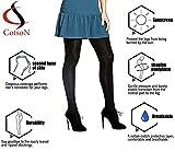 Cotson Women's Black Opaque Pantyhose
