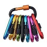 Tougo 10 Pack Karabiner Schlüsselanhänger Karabinerhaken mit Schraubverschluss D-Ring Form Aluminium Legierung Schraubkarabiner für Camping, Angeln,Wandern oder Reisen