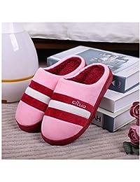 GAOHUI Slippers Los Hombres Otoño Invierno Térmicos Antideslizante Zapatillas De Felpa Artificial Coser Los Amantes De La Moda' Zapatos,Rosa Roja,38-39