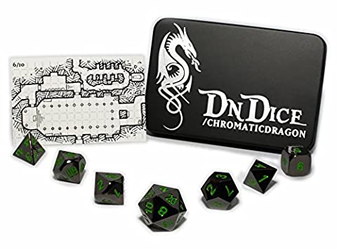 Green Chromatic Dragon - Solid Die Cast Zinc Poly Dice