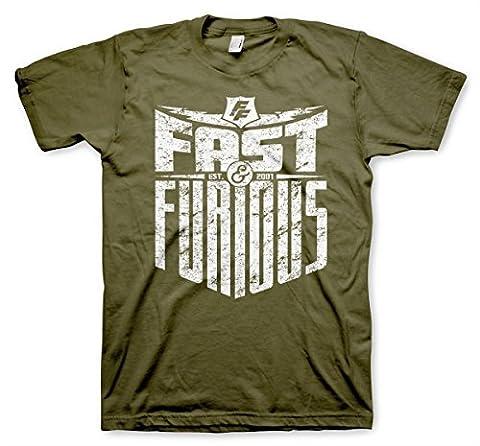 Officiellement Sous Licence Fast & Furious - Est. 2007 Hommes T-Shirt (Olive Vert), XX-Large