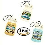 Yankee Candle Car Jar Auto –-Sommer Strand Trio–Beach Walk, Sonne und Sand, Coconut Bay Car Jar Auto-– Set von drei