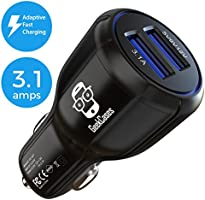 [Adaptive Fast Charging / QC 2.0] GeekCases Car Charger Dual USB Ports - AFC & 3.1A / Smart LED for Smartphones, Tablets & GPS - BLACK