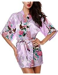 Avidlove Lencería Kimono Japones Corto de Satén Estampado Floral para Mujer