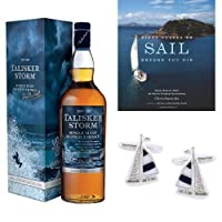 Talisker Storm Single Malt Scotch Whisky, Places to Sail Book and Sailing Cufflinks