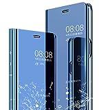 JAMMYLIZARD Custodia Smart View per Huawei P20 PRO | Flip Cover Effetto Specchio Traslucido con Funzione Auto On/off con Kickstand, Azzurro