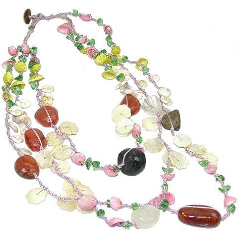 Franki Baker madreperla, perle miste e Collana con pietre in vetro