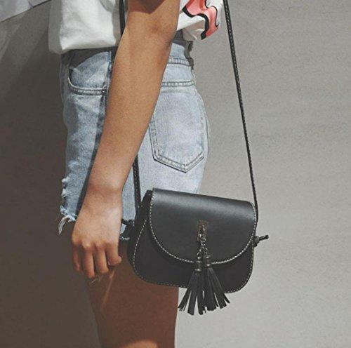 Imagen de esailq mujeres de cuero  bolsas bolsos de hombro para las niñas negro alternativa