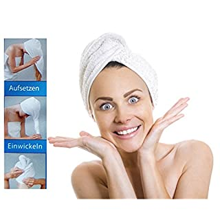 Microfibre Head Towel–Put On, Wrap and Buttons–Hair Turban Head Towel, All AROUND2410