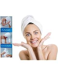 2 x Microfaser Kopf-Handtuch - aufsetzen - einwickeln - zuknöpfen - Haarturban Kopfhandtuch, all-around24