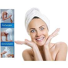Microfibra toalla de cabeza – aufsetzen – Enrollarlo – zuknöpfen ...