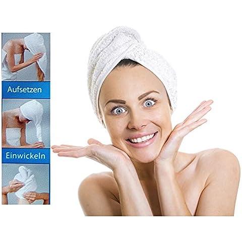 Microfibra toalla de cabeza–aufsetzen–Enrollarlo–zuknöpfen–Pelo turbante toalla de cabeza, All de around24®