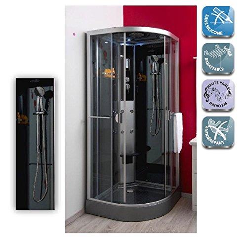 Aqua+ - Cabine de douche hydro sans silicone 1/4 cercle 80 accès...