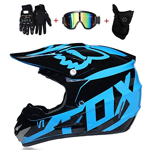 Zhang Motorrad-Integralhelm, Motocross-Helm, Cross Country for Erwachsene, Mountainbike-Integralhelm (einschließlich Helm, Schutzbrille, Gesichtsmaske, Cross Country-Handschuhe, Insgesamt Vier Sätze)