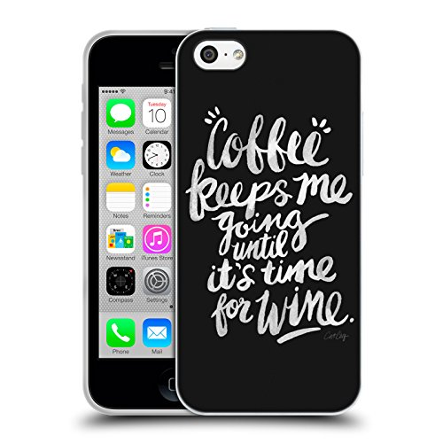 Offizielle Cat Coquillette Eat Well Travel Often Gold Zitate Typografie 3 Soft Gel Hülle für Apple iPhone 5 / 5s / SE Coffee & Wine Weiss