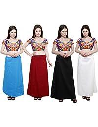 Pistaa combo of Women's Cotton Saree petticoats