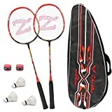 Set Di 2 Racchette Per Badminton, Con Borsa Per Racchette/2 x Overgrip/3 x Piuma Ball, Fibra Di Carbonio Racchetta da Badminton Unisex, Per Giocatori Esperti