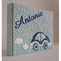 Album fotografico artigianale AUTOMOBILINA in carta luna con nome INTAGLIATO in tela personalizzabile regalo NASCITA BATTESIMO COMPLEANNO VACANZE BAMBINO