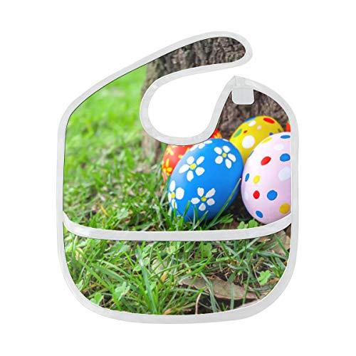 Traditionelle Ostern bemalte Eier Gewohnheit weich wasserdicht waschbar Fleck und Geruch beständig Baby Fütterung Dribble Sabber Lätzchen Spucktücher für Kleinkind insgesamt für 6-24 Monate Kinder -