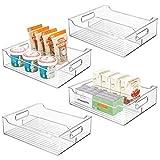 mDesign Set da 4 contenitori alimenti con manici – Portaoggetti frigo lungo diviso in due per cibi cotti o confezionati – Contenitore freezer in plastica per cucina – trasparente