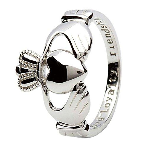 """Claddagh-Ring aus gepunztem Sterlingsilber mit eingraviertem Text \""""Love, Loyalty & Friendship\"""" (Liebe, Treue und Freundschaft)"""
