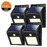 Solarleuchte für Außen 40 LED Solarlampe Superhelle Solarleuchte Garten mit Bewegungsmelder 3 Modi [1800mAh] Wasserdichte Solarleuchten für Garten,Patio, Gehweg, Auffahrt, Treppen [4 Stück] (weiß)