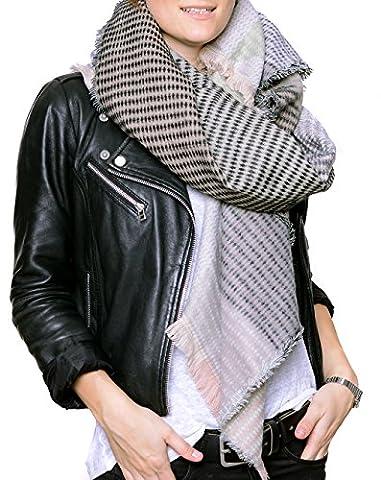 Miriam - sehr großes quadratisches XL Tuch / Schal mit Ethno Muster (dunkelgrau-hellgrau)