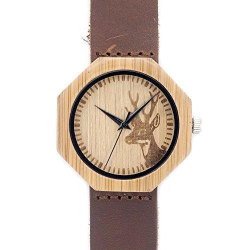 MSB / Bois montre de table en bois Quartz / octogone tête de cerf bracelet en cuir /
