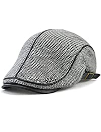 211e9947cd8ef LAOWWO Flat Cap Mens Knit Flat Cap Duckbill Ivy Irish Winter Cap Newsboy  Cabbie Scally Beret