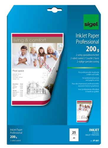 Sigel IP681 InkJet Paper, two-sided coated, bright white, for double-sided printouts, 200 gsm, A4, 25 sheets