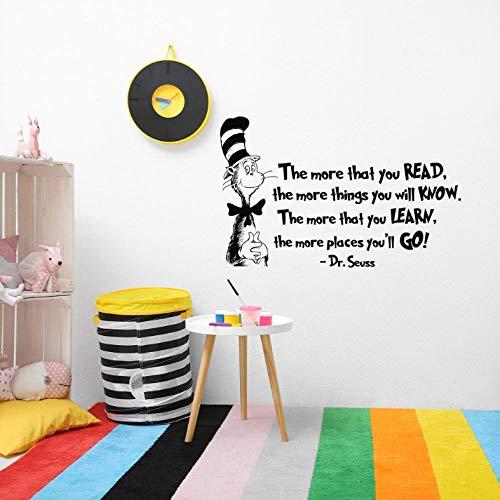 Je mehr Sie lesen Zitat Wandtattoo Katze im Hut Kinderzimmer Wandaufkleber Kinder lesen Klassenzimmer literarischen Dekor Zitate Decals