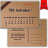 Save the date Karten Postkarten Vintage mit Text Hochzeit Liebe Heirat Einladung Verkündung Kraftpapapier-Look Wir heiraten Hochzeitseinladungen Kalender