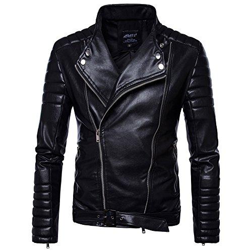 Uomo giacca nera stile motociclista in pelle sintetica cappotto pelle de invierno con cintura nero l