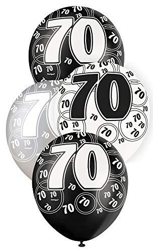 Unique Party Paquete de 6 globos de látex de 70 cumpleaños Color negro Edad (80899