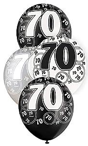 Unique Party- Paquete de 6 globos de látex de 70 cumpleaños, Color negro, Edad (80899)