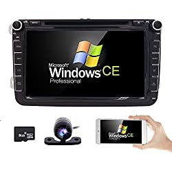 8 Inch 2 Din Car Stereo for VW Golf Skoda Seat with Wince System Mirrorlink DVD Player GPS Navigation FM AM Radio Bluetooth USB SD Free Parking Camera Steering Wheel Control 1080P Video 8GB Map Card