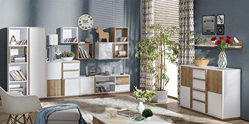 Wohnzimmer Set Weiss / Nussbaum - 9 tlg.