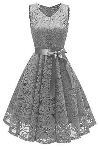 GREMMI Damen Spitzen Abendkleider Partykleid Schwingen Cocktailkleid Ärmellos Spitzenkleid Festlich Brautjungfern Floral Kleid (42(XL), Grau) (Brautjungfer Kleider)