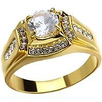 Anillo de diamante de oro brillante de moda, para hombres y mujeres, anillo de diamante de circonita dorada para boda, regalo de recuerdo del día de San Valentín Estándar #7