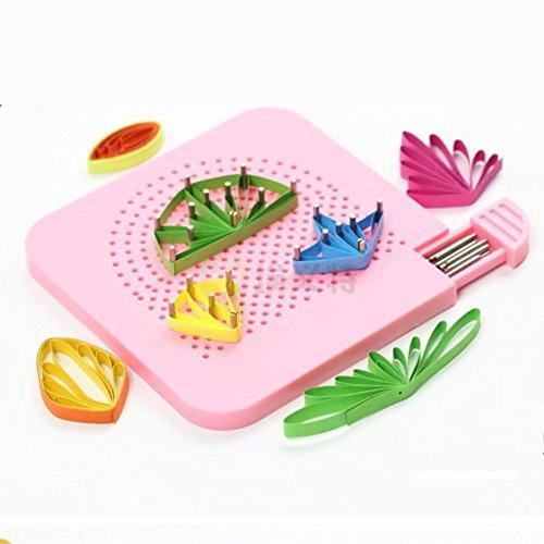 ODETOJOY Quilling Board mit Stiften Storage Paper Grid Guide Crafting Wickler Rollenplatz Folding Craft Tools für Anfänger (Rosa) -
