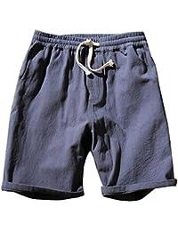 LaoZanA Cargo Bermudas Hombre Pantalones Cortos De Playa Deportivos Chinos  Pantalon Lino Cintura Elástica Gris Azul 92e0353ed5d1