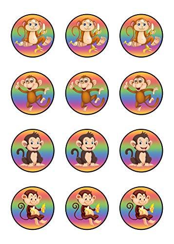 Muffinaufleger Cupcakes Muffins Kindergeburtstag Tiere Affen A01 (Zuckerpapier)