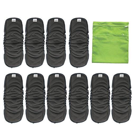 Vlokup bambù carbone Inserto assorbente per pannolini lavabili, 5 strati, acqua super assorbente, riutilizzabile antibatterico