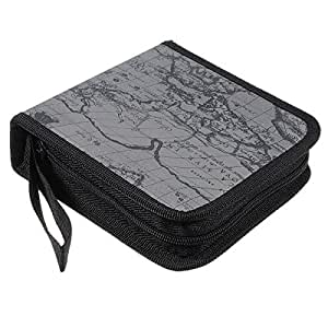 Veewon 40 disc CD Cases Wallet DVD Holder World Global Map Fashion DJ Storage Case Disc Organizer Wallet Bag Album (Gray)