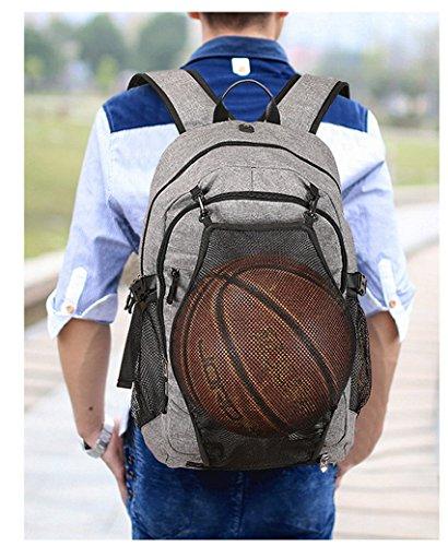 Schulrucksack, ACMEDE Top-Model Sportrucksack Notebook-Rucksack/ Studenten-Rucksack mit USB Anschluss Fußballnetzfach 17 Zoll Flächeinhalt Freizeitrusack für Jugendliche Schwarz