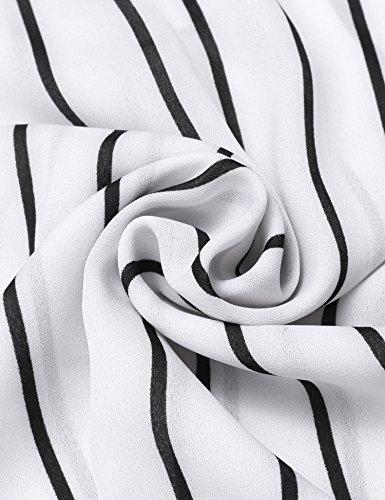 Beyove Damen Chiffonbluse mit Blumen Sommer Bluse Lamgarm Shirt Musterprint Obertail Weiß Gestreift
