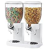 BAKAJI Dispenser per Cereali/Pasta/Caramelle/Dolci/Frutta Secca Singolo con Rotella, Doppio Contenitore da 8 Lt e Dosatore Interno, Bianco