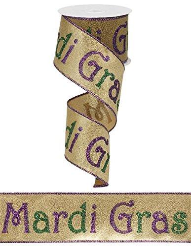 Mardi Gras Band mit Draht 6,3cm X 10Meter GOLD LAME Print: rg01526 -