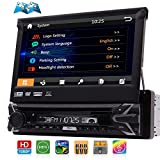 Single Din Bluetooth Autoradio mit HD-Radio, 7-Zoll-Premium-LCD-Display, GPS-Navigation, AUX / USB / TF Auto AM FM RDS Radio-Empf?nger, 1 Din DVD CD Spieler mit abnehmbarer Verkleidung, Wireless Remo