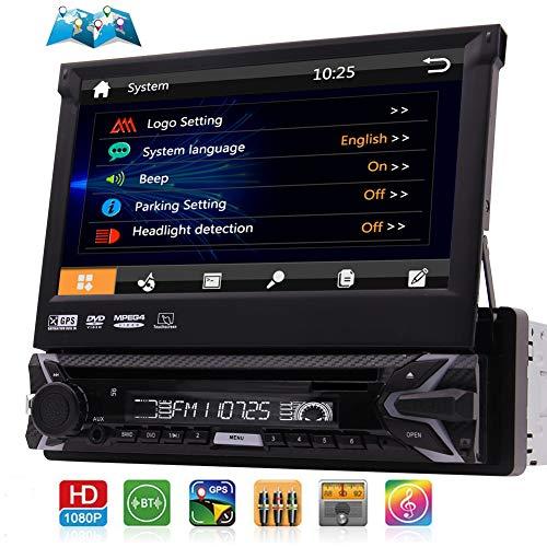 7-Zoll-Multi-Color-Touchscreen Einzel DIN Head Unit AM FM RDS Radio Receiver In Dash GPS-Einheit Auto-Stereo-Audio-Video-Systems mit Bluetooth-GPS-Navigation mit freier 8GB Karte Karte Fernbedienung (10 Zoll-auto-stereo Single Din)